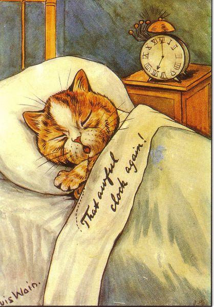 'That Awful Clock Again' Louis Wain Repro Greeting Card