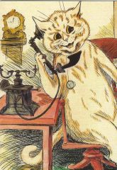 £1 Card!!! 'Hello Hello' Fun Vintage Greeting Card of Cat on the Telephone. Illustration by Louis Wain.