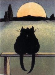 Romantic Vintage Black Cat Greeting Card Repro