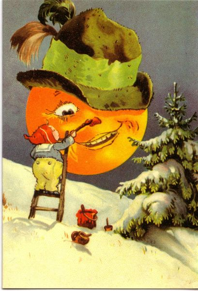 'The Man In The Moon Unusual Vintage Christmas Card Repro