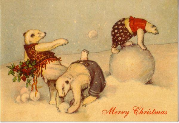Polar Bears and Snowballs Fun Vintage Christmas Card Repro