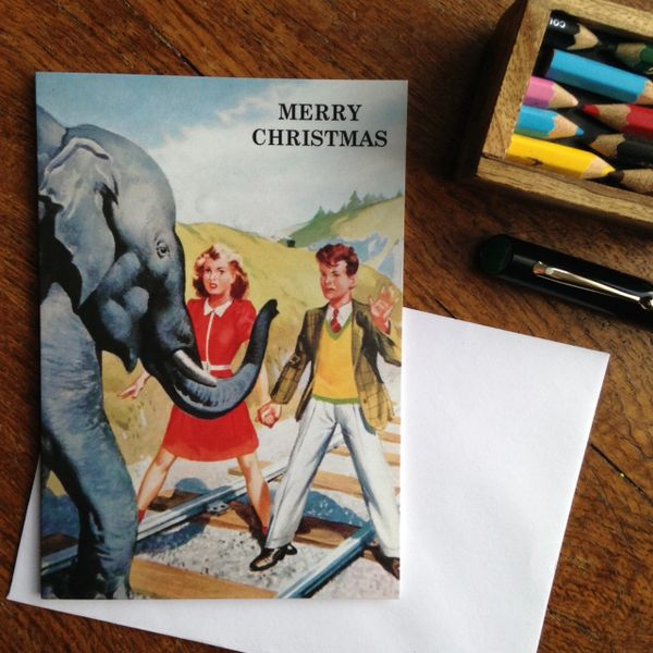 Elephant On The Tracks! Vintage Alternative Christmas Card!