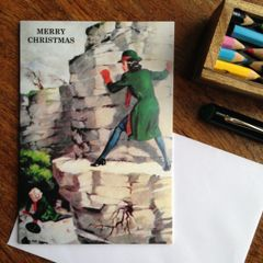 Alternative Christmas Card Showing Vintage Schoolgirl Cliff-face Peril!