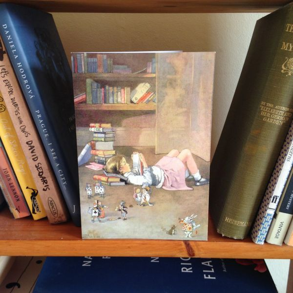 'Adventures in Reading' Vintage Alice in Wonderland Illustration Greeting Card