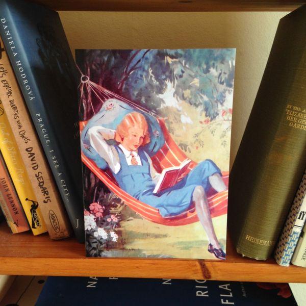 'Summer Afternoon' Vintage Schoolgirl Storybook Illustration Greeting Card