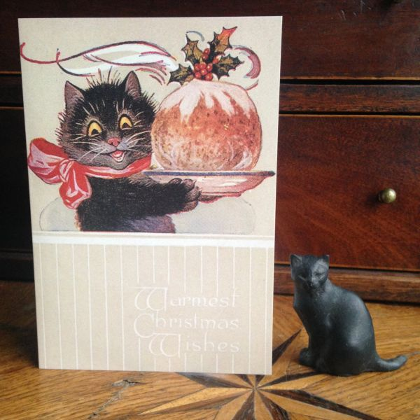 Pack of 10 'The Christmas Pudding' Vintage Black Cat Greeting Card Repro.