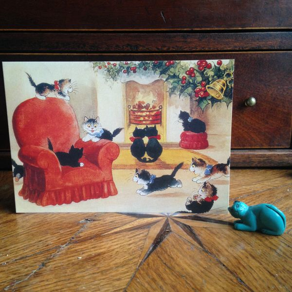 £1 Christmas Card!!! 'A Cheery Christmas' Vintage Black Cat Greeting Card Repro.