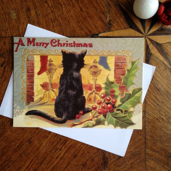 £1 Christmas Card!!! 'Warm Thoughts' Vintage Black Cat Greeting Card Repro.