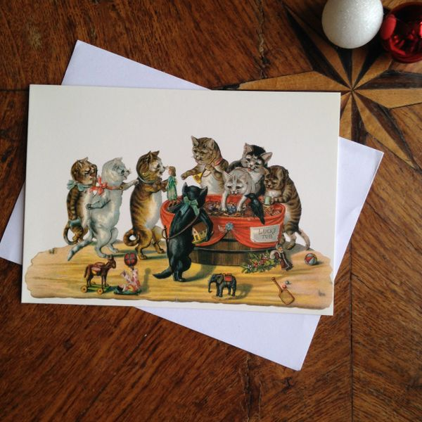 £1 Christmas Card!!! 'Lucky Tub' Vintage Cat Christmas Card Repro.