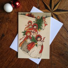 £1 Christmas Card!!! 'Bringing in the Tree' Vintage Swedish Christmas Card Repro