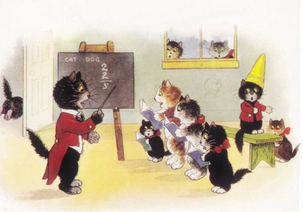 'Cats in Class' Sweet Vintage Cat School illustration Greeting Card. Good Card For Teacher!
