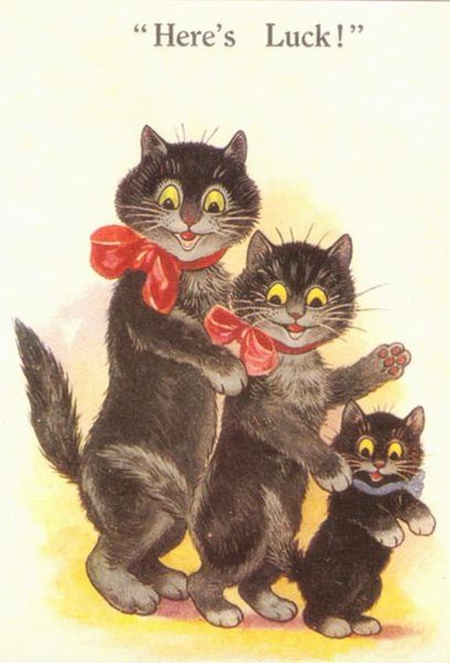 'Here's Luck!' Adorable Vintage Cat illustration Good Luck Card. Greeting.