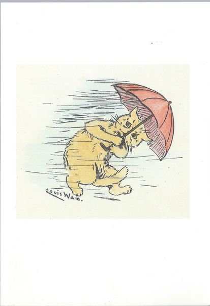 'What Terrible Weather!' Vintage Cat Greeting Card. Illustration by Louis Wain.