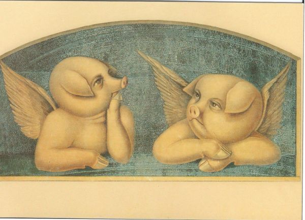 £1 Card!!! Pig Cherubs Unusual Vintage Greeting Card Repro