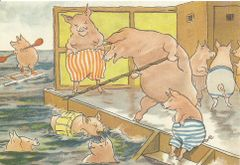 'The Swimming Lesson' Vintage Pig Greeting Card Repro