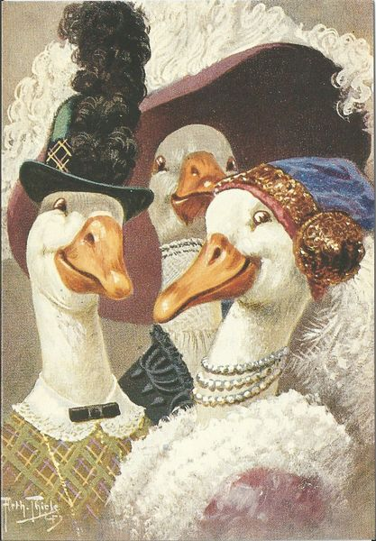 Fantastic Geese Illustration Vintage Greeting Card Repro
