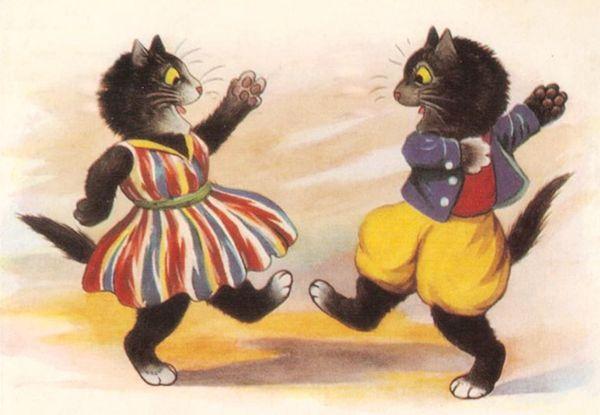 'The Dancing Cats' Fantastic Vintage Cat illustration Greeting Card. Lots of Fun!