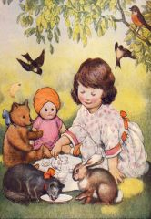 'April's Tea Party' Vintage Storybook Greeting Card