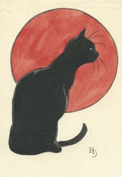 'Black on Red' Striking Vintage Black Cat Illustration Greeting Card