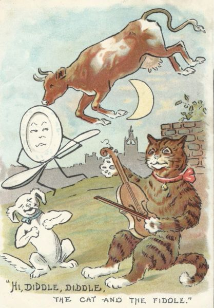Hi Diddle Diddle. Vintage Greeting Card of the Classic Nursery Rhyme