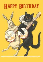 Banjo Serenade. Fantastic Birthday Card with Black Cat and Rabbit Illustration