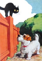 'On The Fence' Fun Dog and Cat Greeting Card Vintage Repro