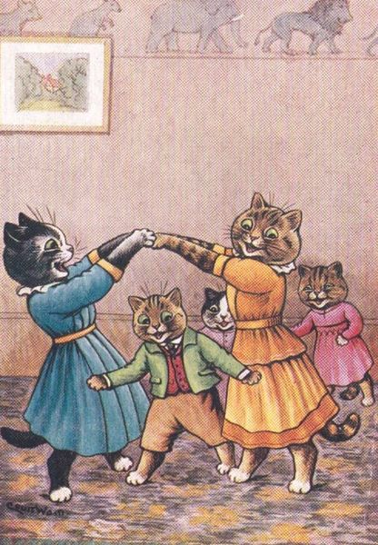 'London Bridge' Fantastic Vintage Cat Greeting Card Repro. Illustration by Louis Wain.