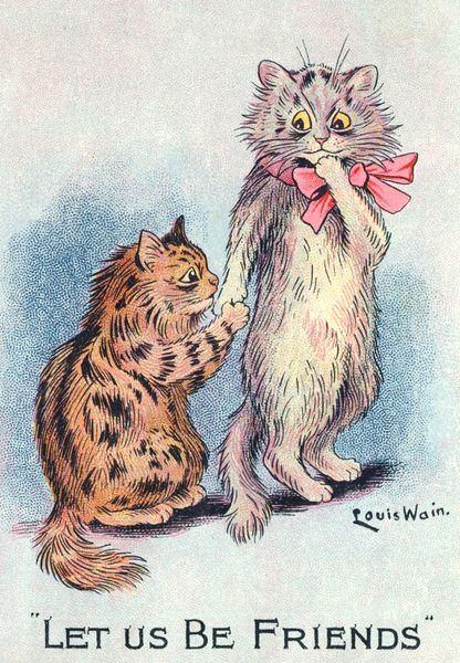 'Let Us Be Friends' Sweet Vintage Cat Greeting Card Repro. Illustration by Louis Wain.