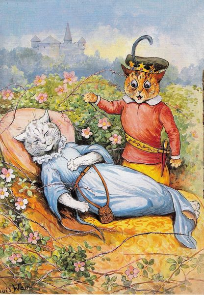 'Sleeping Beauty' Colourful Vintage Cat Greeting Card Repro. Illustration by Louis Wain.