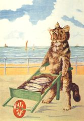 Fish For Sale. Vintage Cat Illustration Greeting Card