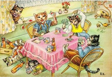 The Card Game. Fun Greeting Card of Cats Playing Cards and Drinking Beer!