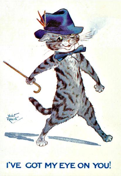 'I've Got My Eye On You!' Fantastic Vintage Cat Illustration Greeting Card