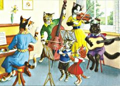 Soon in Tune. Colourful Greeting Card of a Cats Music Lesson