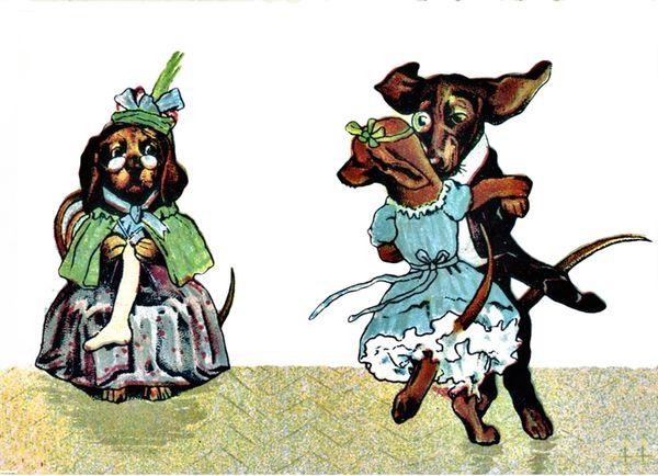 'Chaperoning the Charleston' Vintage Dachshund Greeting Card Repro.