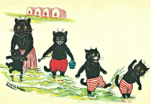 Paddling Pussycats. Louis Wain Illustration Greeting Card.