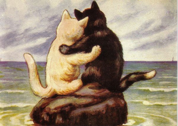 A Purrfect Day. Romantic Vintage Cat Illustration Greeting Card