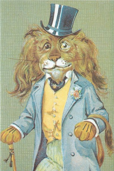 'The Dandy Lion' Dapper Vintage Lion Illustration Greeting Card
