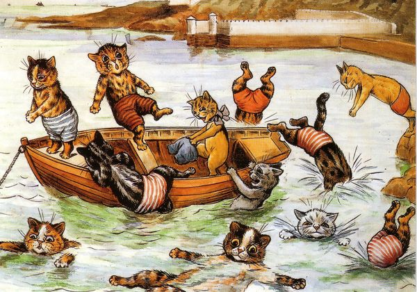 'The Boating Party' Vintage Cat Greeting Card Repro. Illustration by Louis Wain.