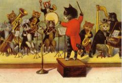The All Cats Jazz Band Vintage Illustration Greeting Card