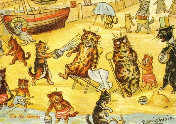 On The Sands. Louis Wain Illustration Greeting Card.