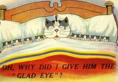 Oh Why Did I Give Him The Glad Eye? Fun Greeting Card of a Cat and her Kittens.