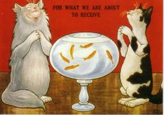 For What We Are About To Receive. Fun Vintage Cat Illustration Greeting Card.