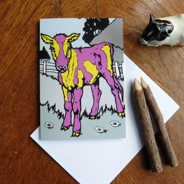 Colourful Calf Greeting Card for the Brilliant and Individual Person in your Life
