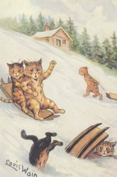 Fun in the Snow! Fantastic Louis Wain Vintage Christmas Card Repro