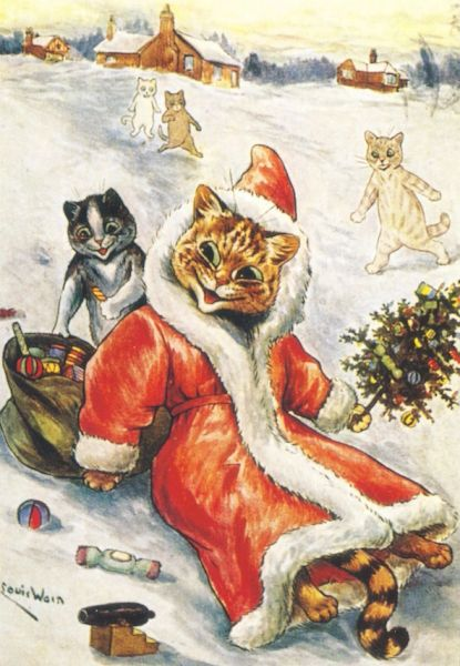 A Jolly Santa! Fantastic Louis Wain Vintage Christmas Card Repro