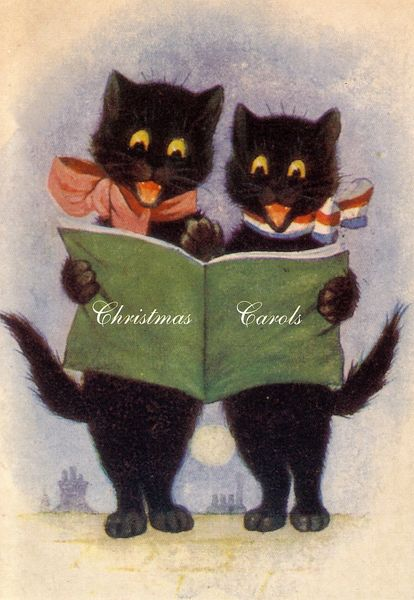Pack of 10. 'Christmas Carols' Adorable Vintage Cat Christmas Card Repro