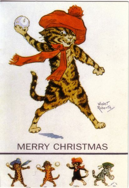'Watch Out!' Good Fun Vintage Cat Christmas Card Repro Violet Roberts