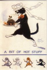 'A Bit of Hot Stuff' Good Fun Vintage Cat Christmas Card Repro Violet Roberts