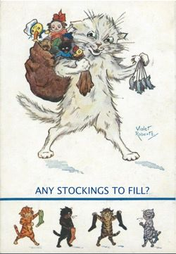 'Any Stockings To Fill?' Good Fun Vintage Cat Christmas Card by Violet Roberts Repro