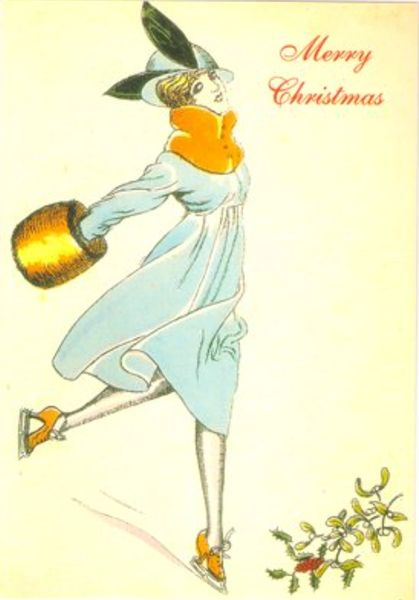 Skating Lady in Blue Vintage Fashion Christmas Card Repro